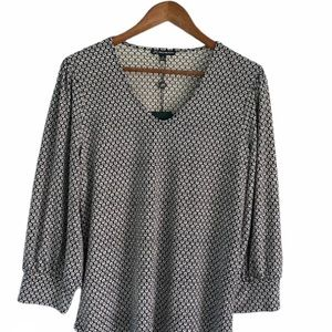 Adrianna Papell V-Neck 3/4 Puff Sleeve Blouse
